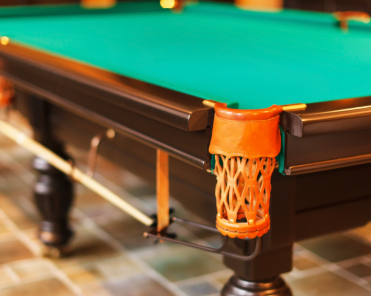 close up view of a pool table