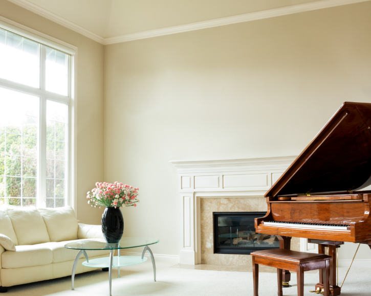 Lounge room with grand piano