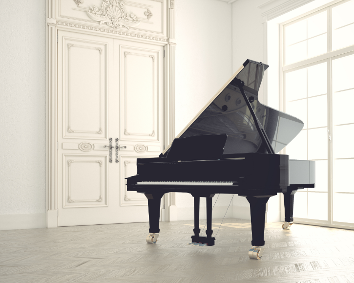 White room with grand piano